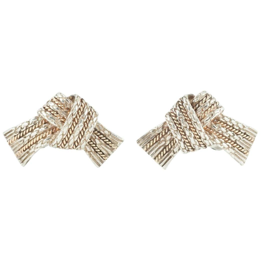 Vintage Hermès of Paris Tied Ribbon Brooch in Silver & 18 Karat Gold, circa 1960