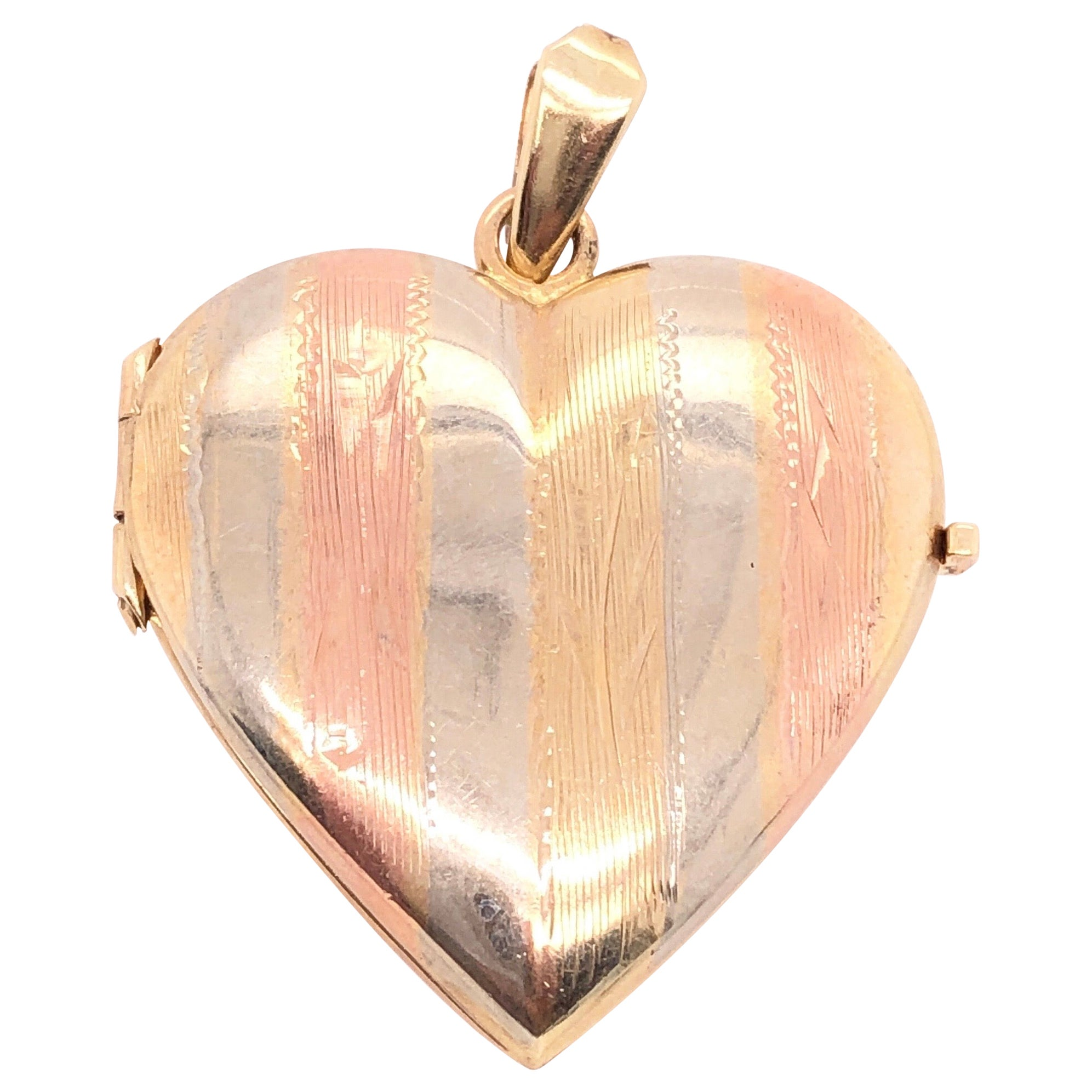 14 Karat Multi-Color Gold Locket Pendant / Charm
