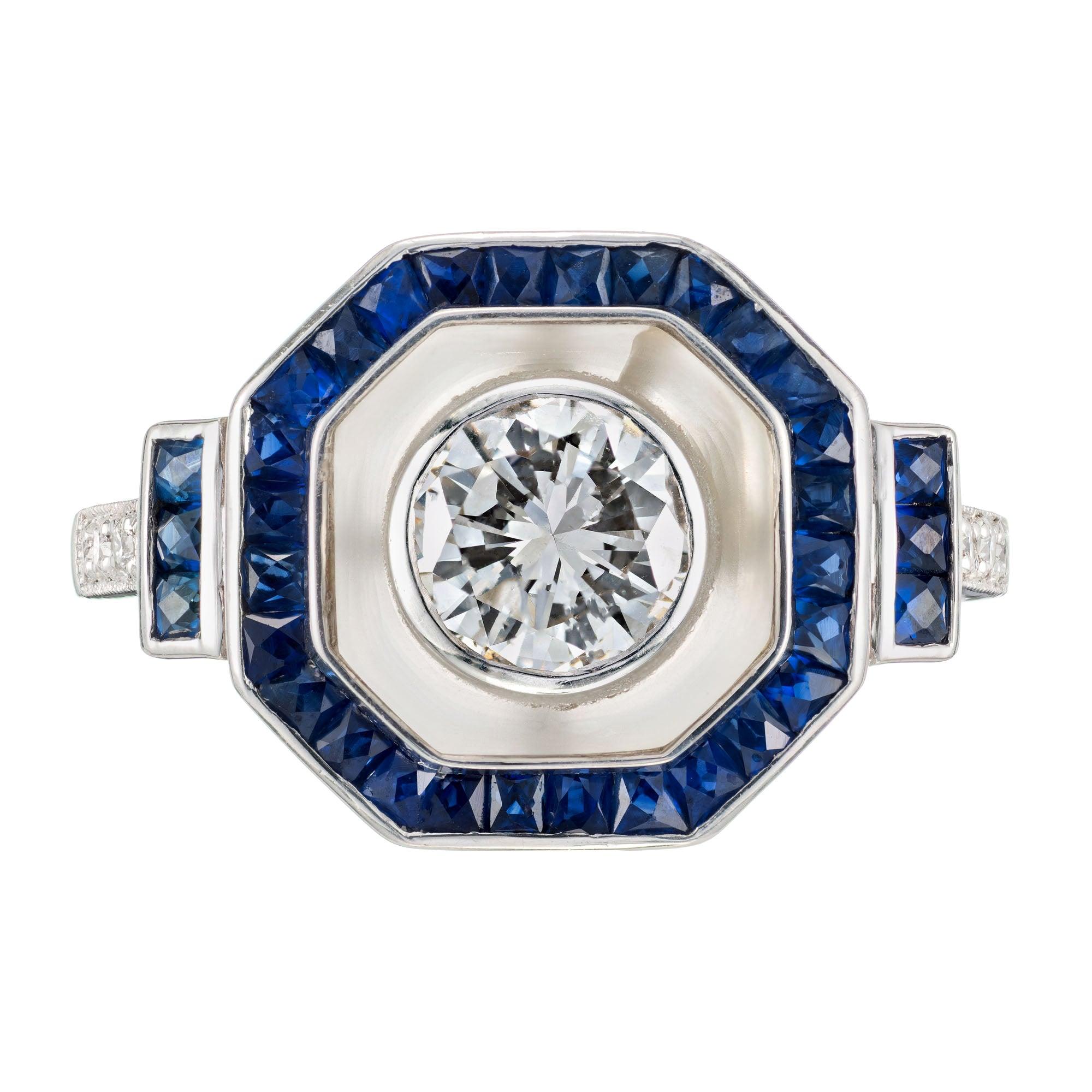 GIA Certified .72 Carat Diamond Sapphire Platinum Halo Engagement Ring