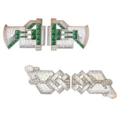 Original Gouache Rendering Art Deco Double Clips