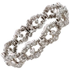 Art Deco Openwork Diamond Platinum Link Bracelet
