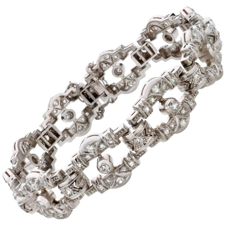 Art Deco Openwork Diamond Platinum Link Bracelet For Sale
