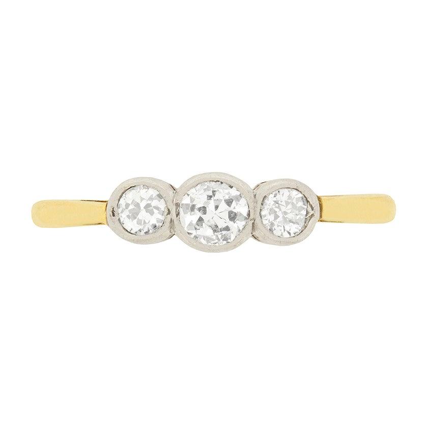 Art Deco 0.55 Carat Diamond Three-Stone Ring, circa 1920s