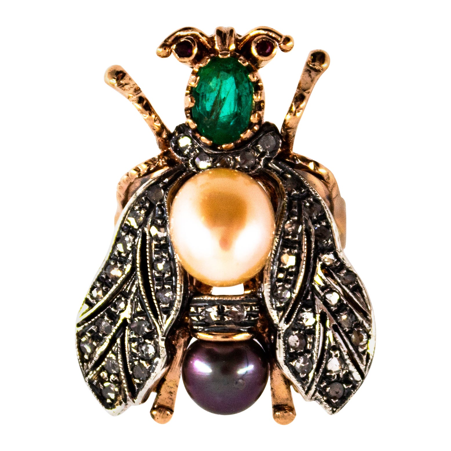 """1.52 Carat White Diamond Emerald Ruby Pearl Yellow Gold Cocktail """"Cicada"""" Ring"""
