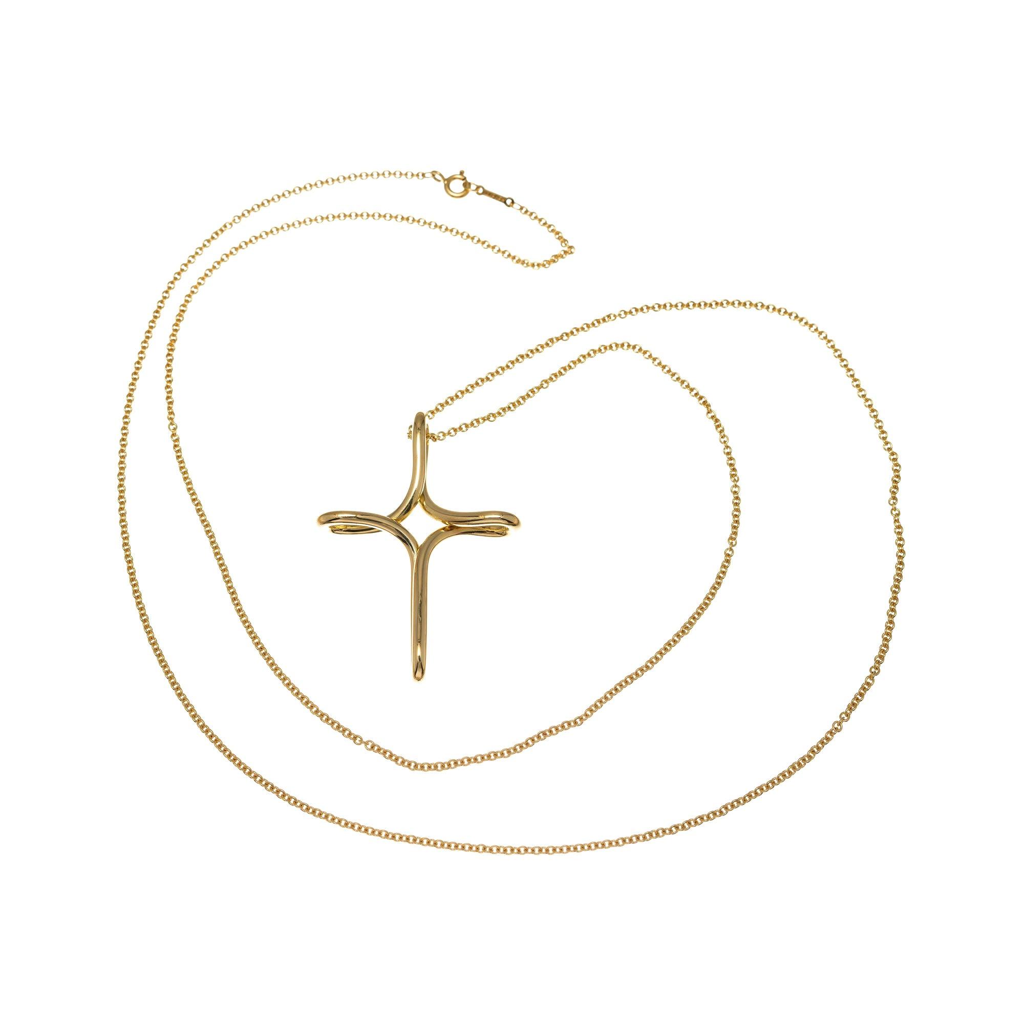 Tiffany & Co. Elsa Peretti Yellow Gold Infinity Cross Pendant Necklace