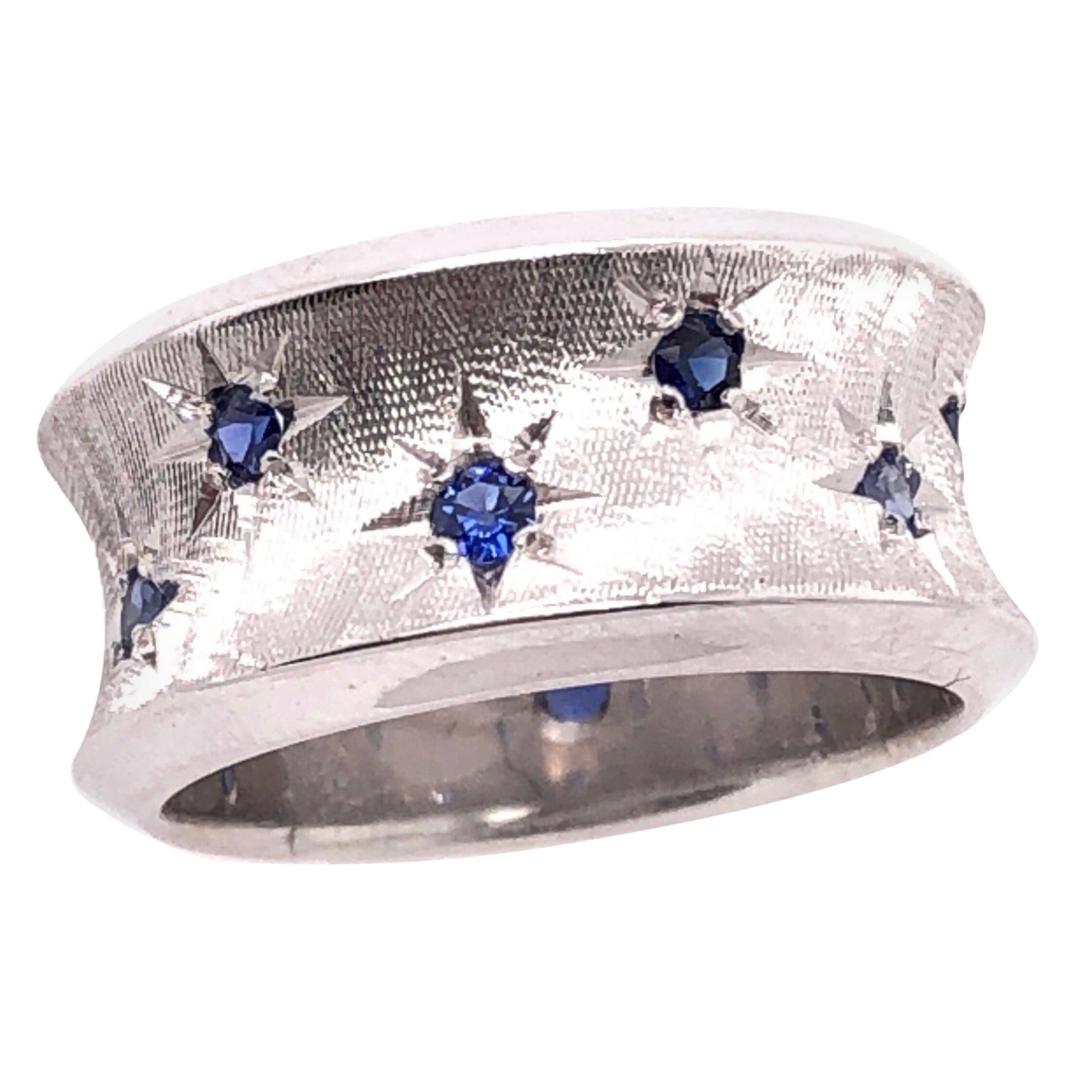 14 Karat White Gold with Round Sapphires Fashion Band Ring