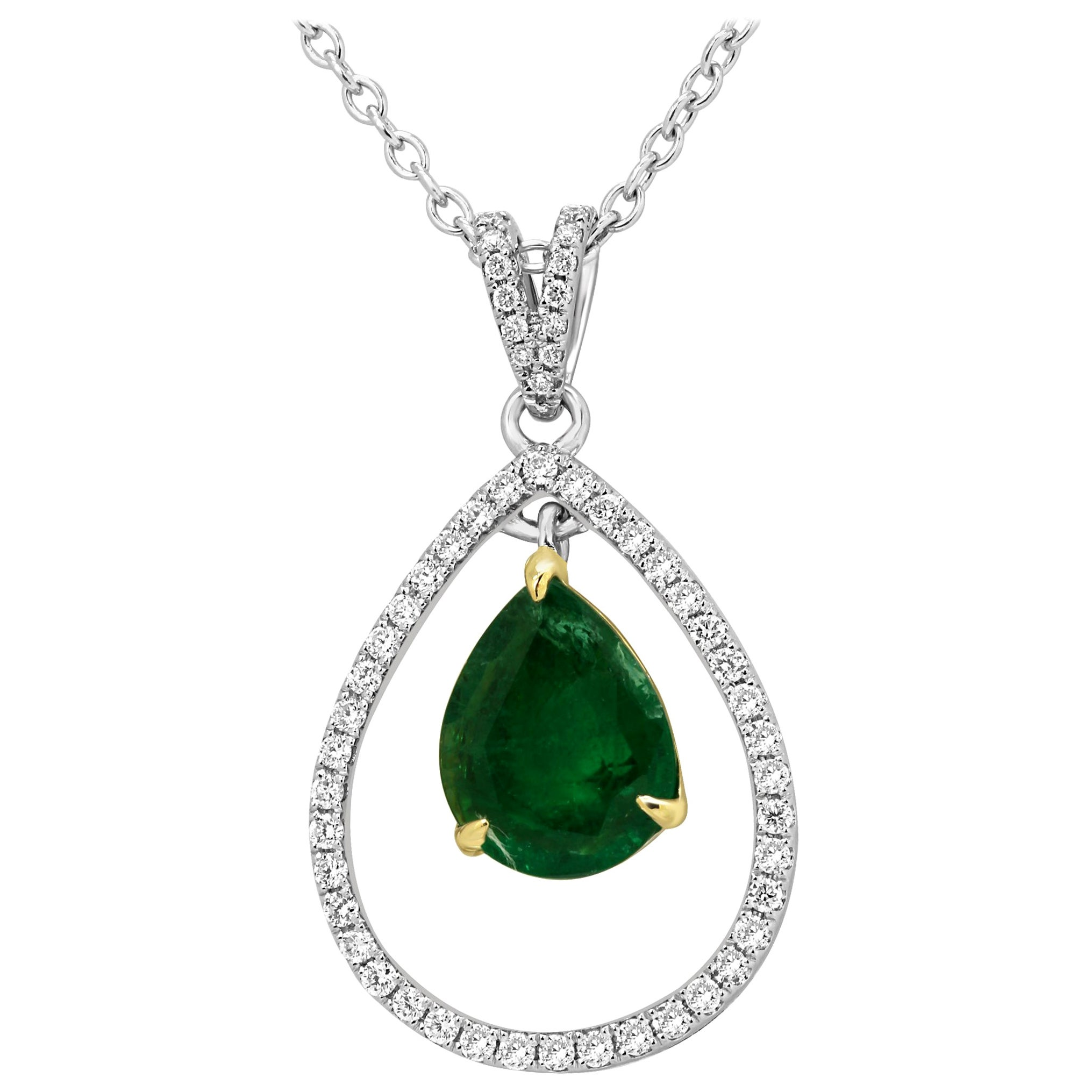 Emerald Diamond Halo Two-Color Gold Chain Drop Necklace