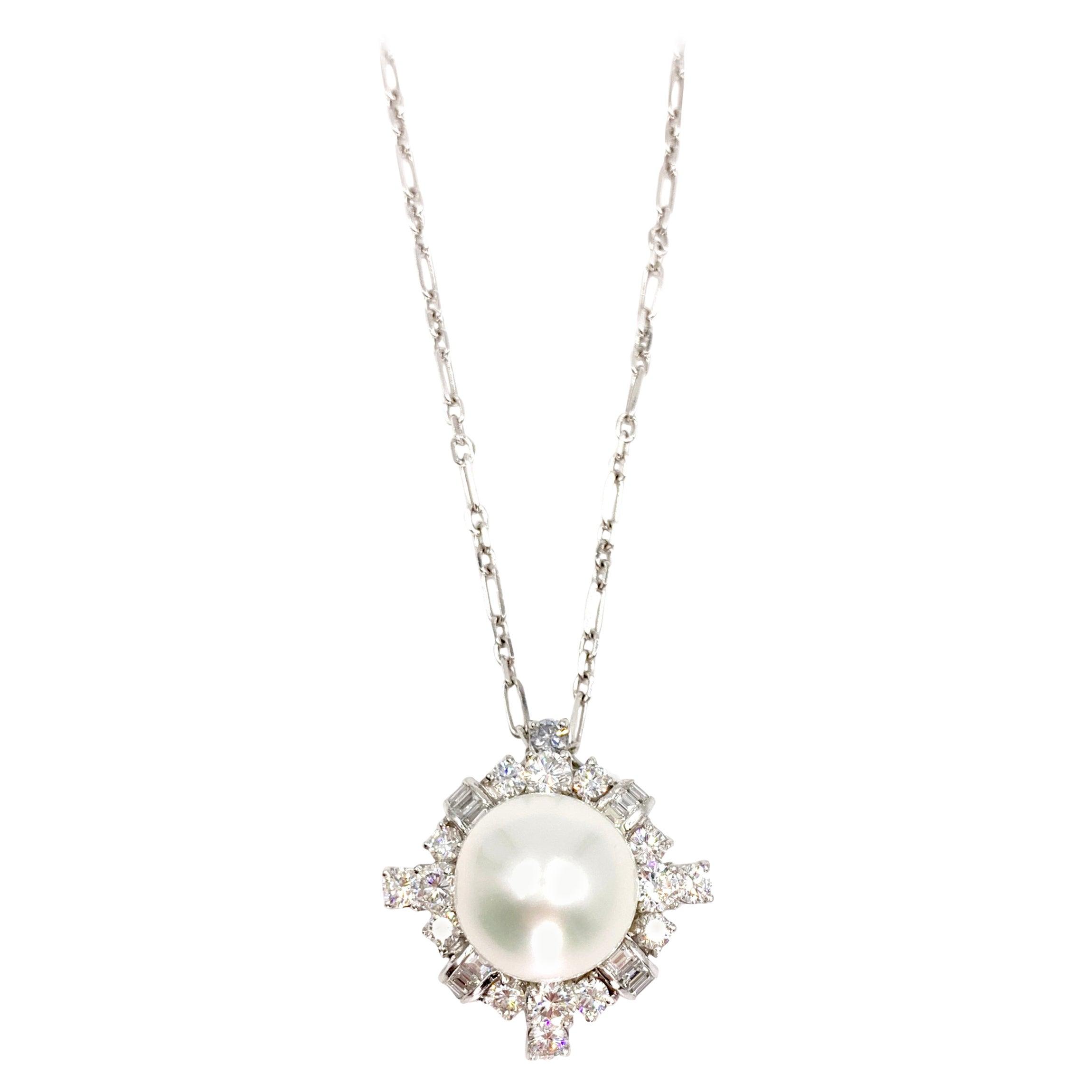 South Sea Pearl and Diamond Platinum Pendant Necklace