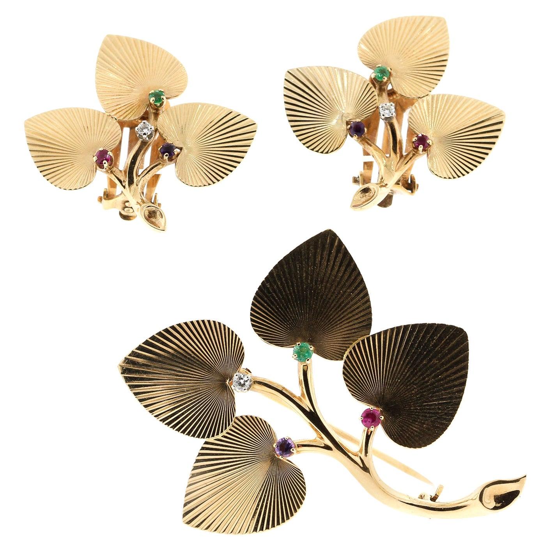 Vintage Retro Tiffany & Co. 14 Karat Yellow Gold Textured Leaf Earrings Pin Set