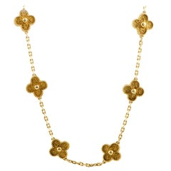 Van Cleef & Arpels Vintage Alhambra 18K Yellow Gold Flower Necklace