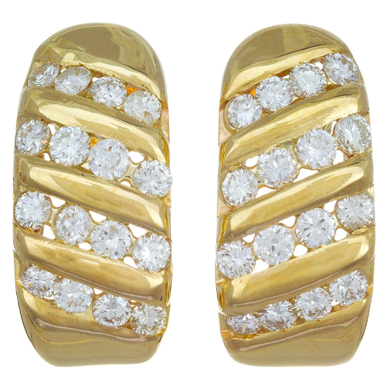 1.10 Carat Diamond Yellow Gold Channel Set Half Hoop Earrings