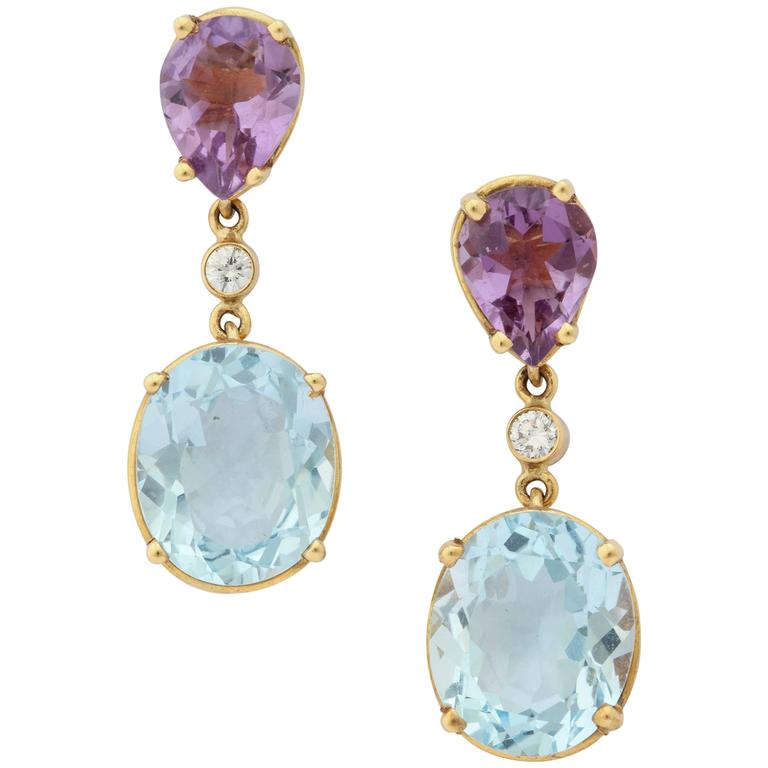 Charming Amethyst Blue Topaz Gold Drop Earrings