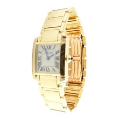 Cartier 18K Yellow Gold Tank Francaise Ladies Watch Quartz w/ Travel Box