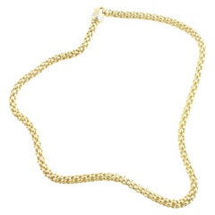 "FOPE 18K Yellow Gold 14"" Choker Necklace Chain Lobster Claw Clasp"