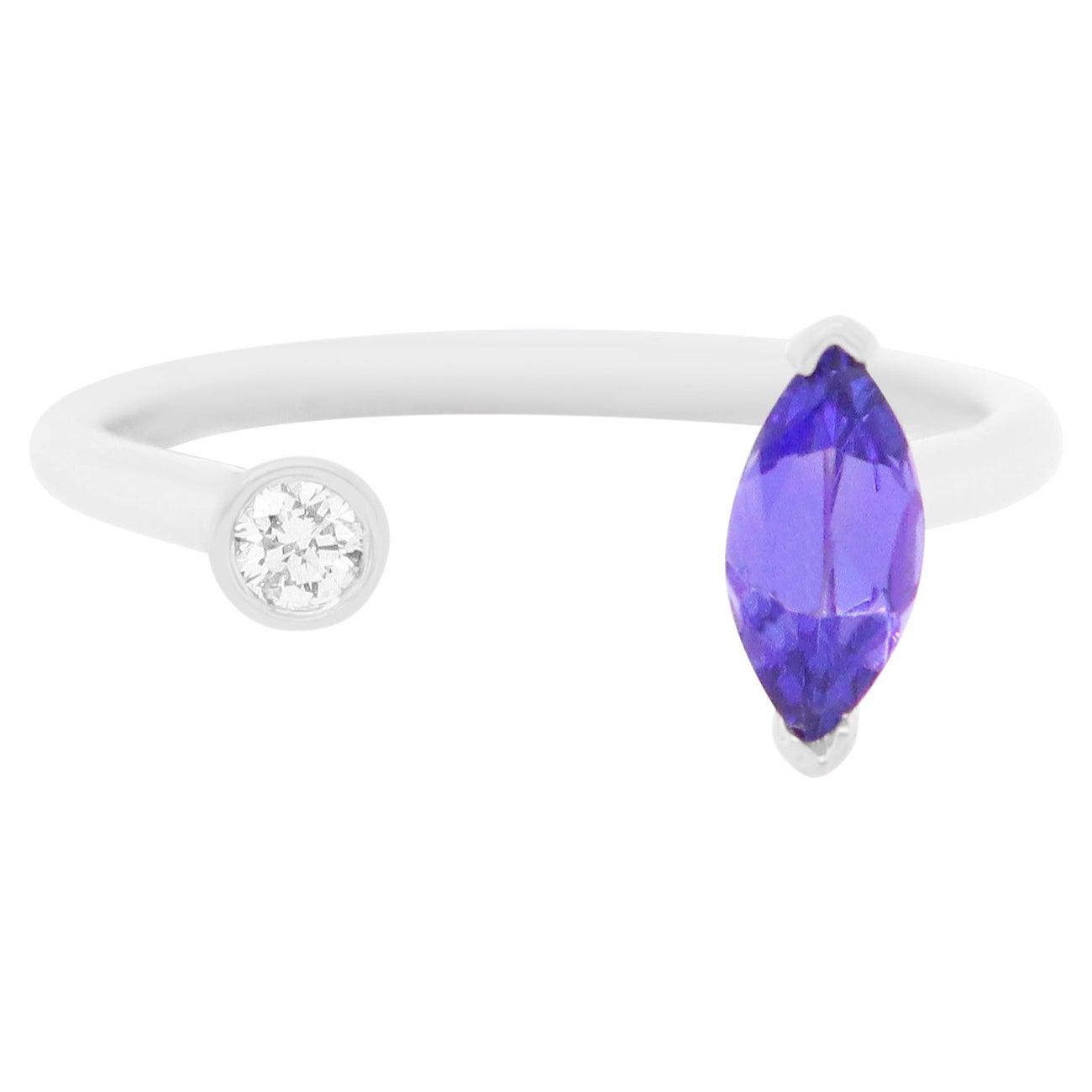 Tanzanite and Diamond Toi et Moi Ring