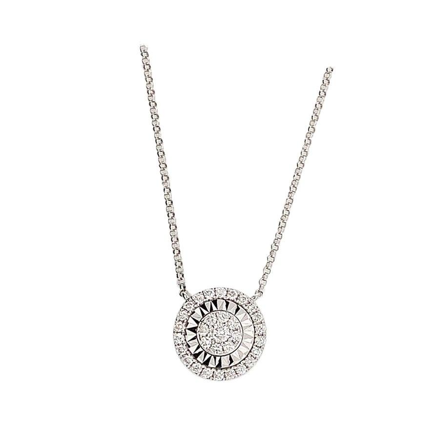 0.40 Carat White Diamond Cluster Pendant Necklace