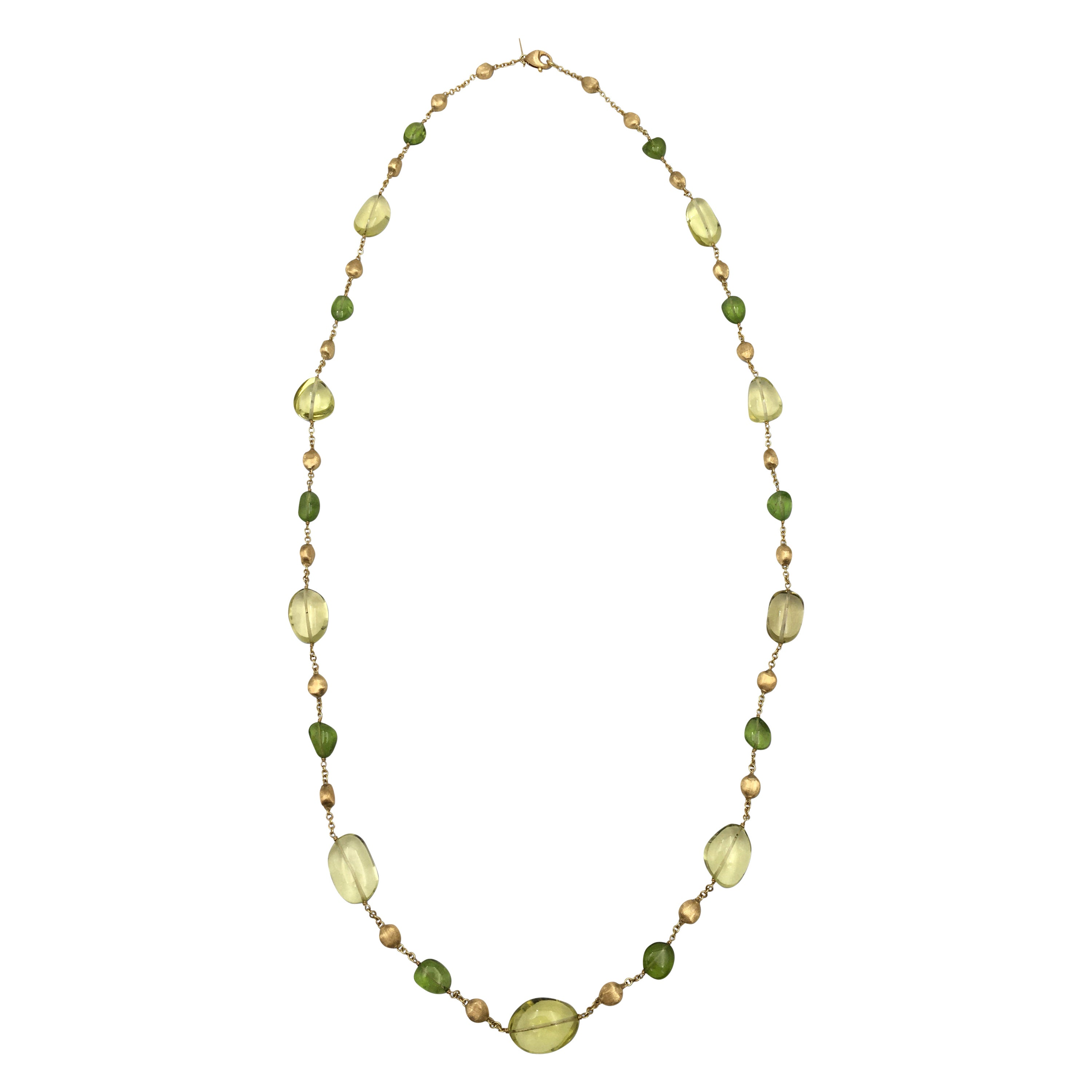 Marco Bicego 18 Karat Gold Citrine and Peridot Necklace