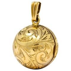 British Victorian 9 Karat Yellow Gold Engraved Ball Locket Pendant