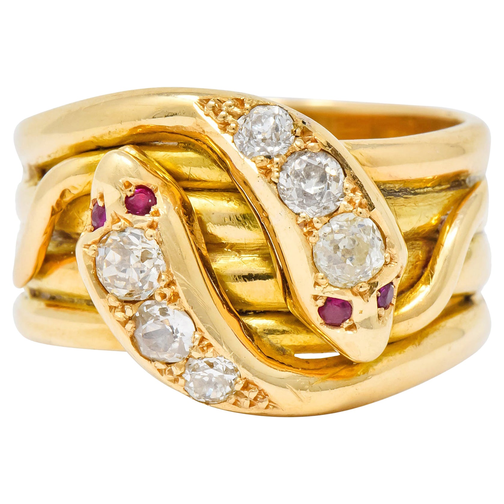1902 British Victorian Diamond Ruby 18 Karat Gold Snake Band Ring