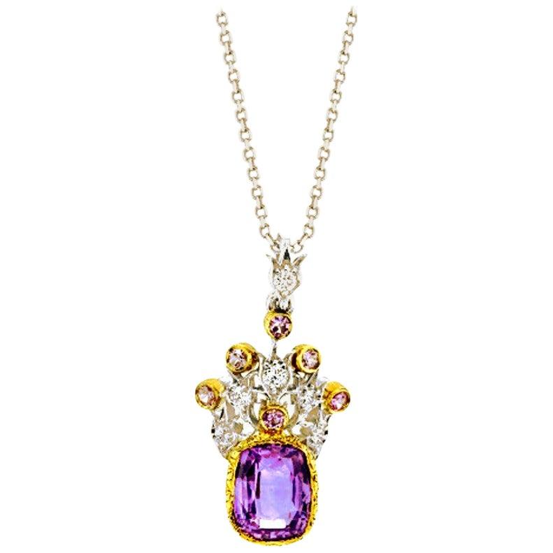 3.63 ct. Lavender Sapphire, Diamond 18k Yellow, White Gold Drop Pendant Necklace