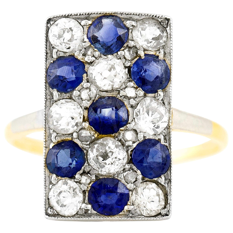 1.5 Carat Diamonds and 1.4 Carat Sapphires Ring