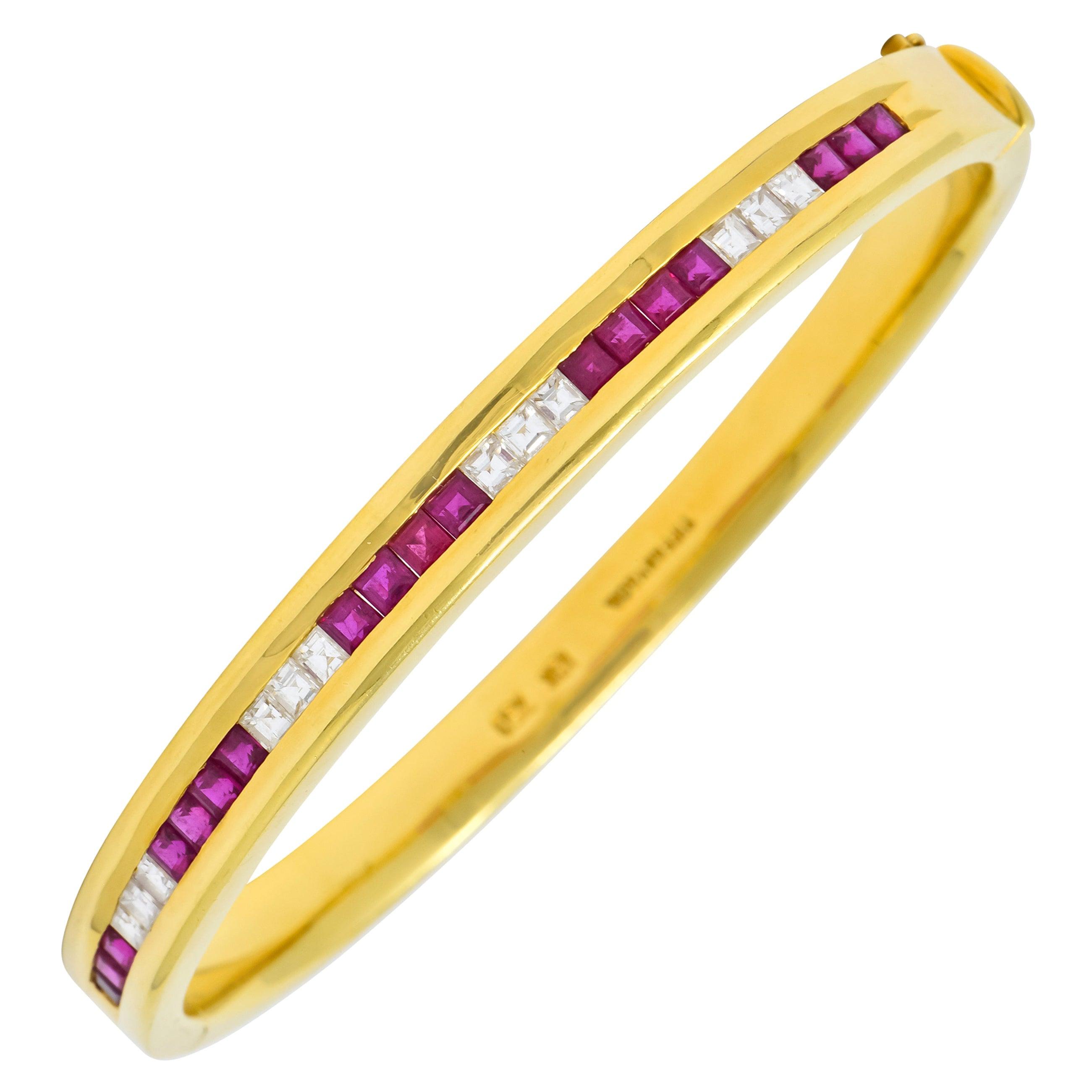 Tiffany & Co. Vintage 3.36 Carat Diamond Ruby 18 Karat Gold Bangle Bracelet