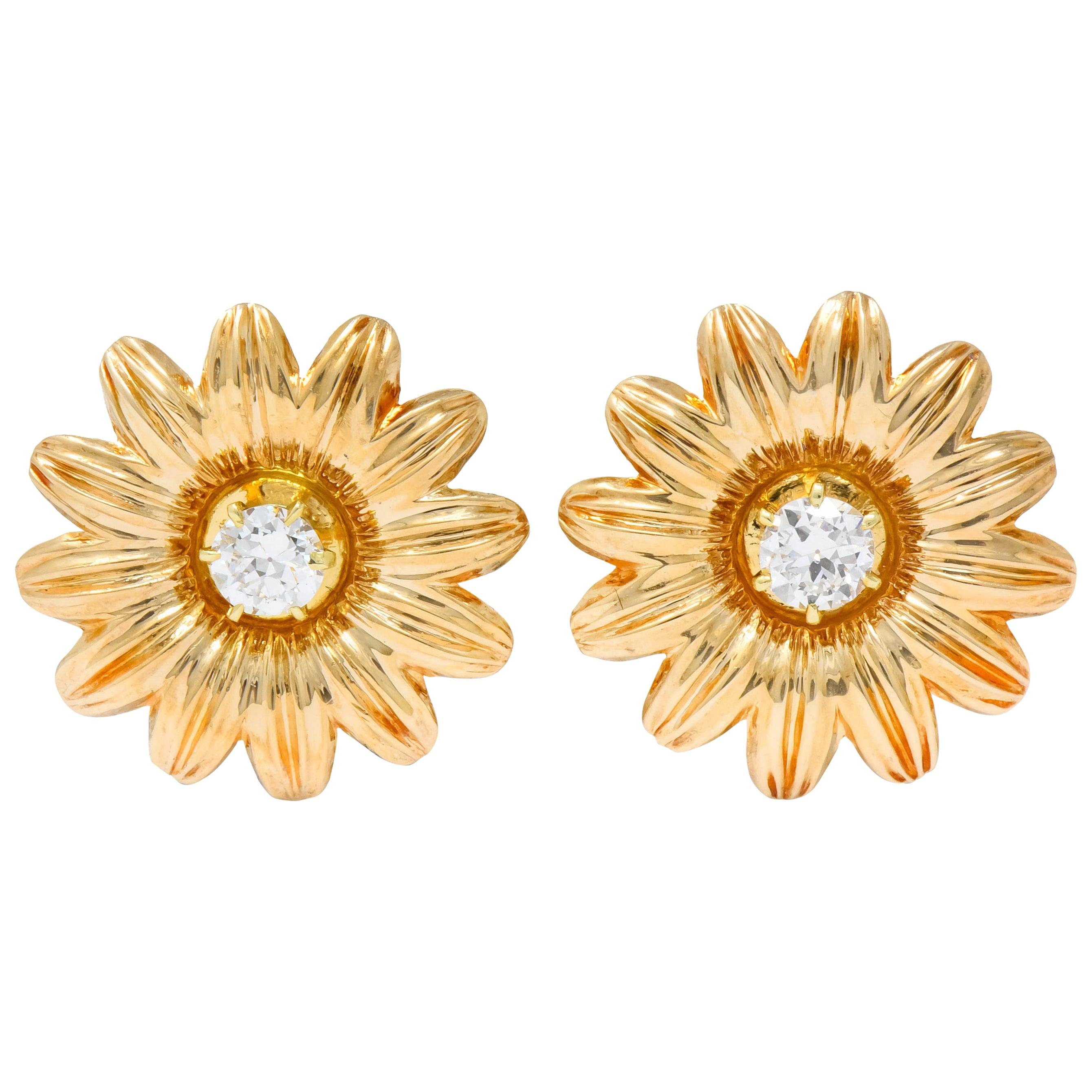 Retro Tiffany & Co. Diamond 14 Karat Gold Flower Screw Back Earrings