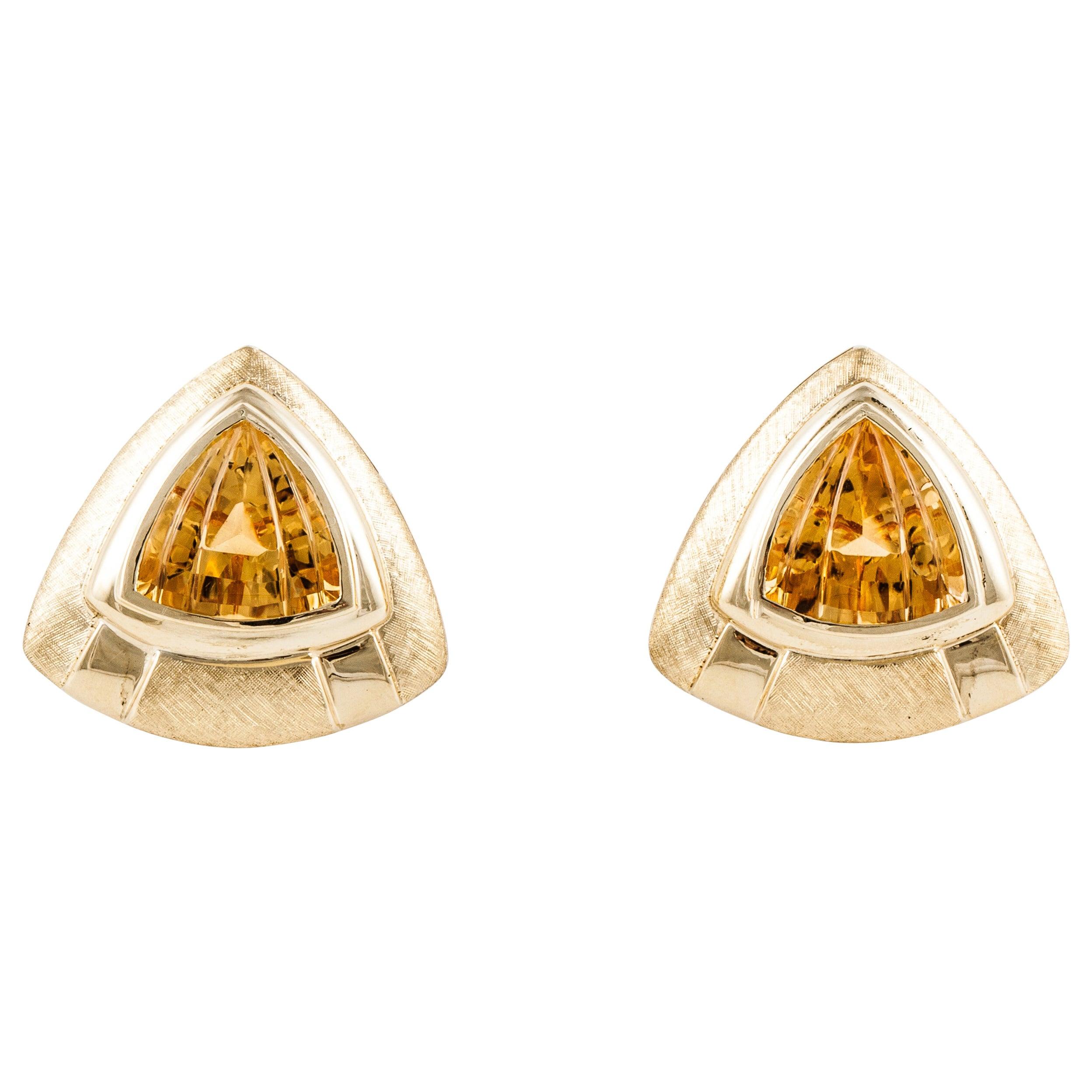Sabbadini Yellow Gold Citrine Earrings