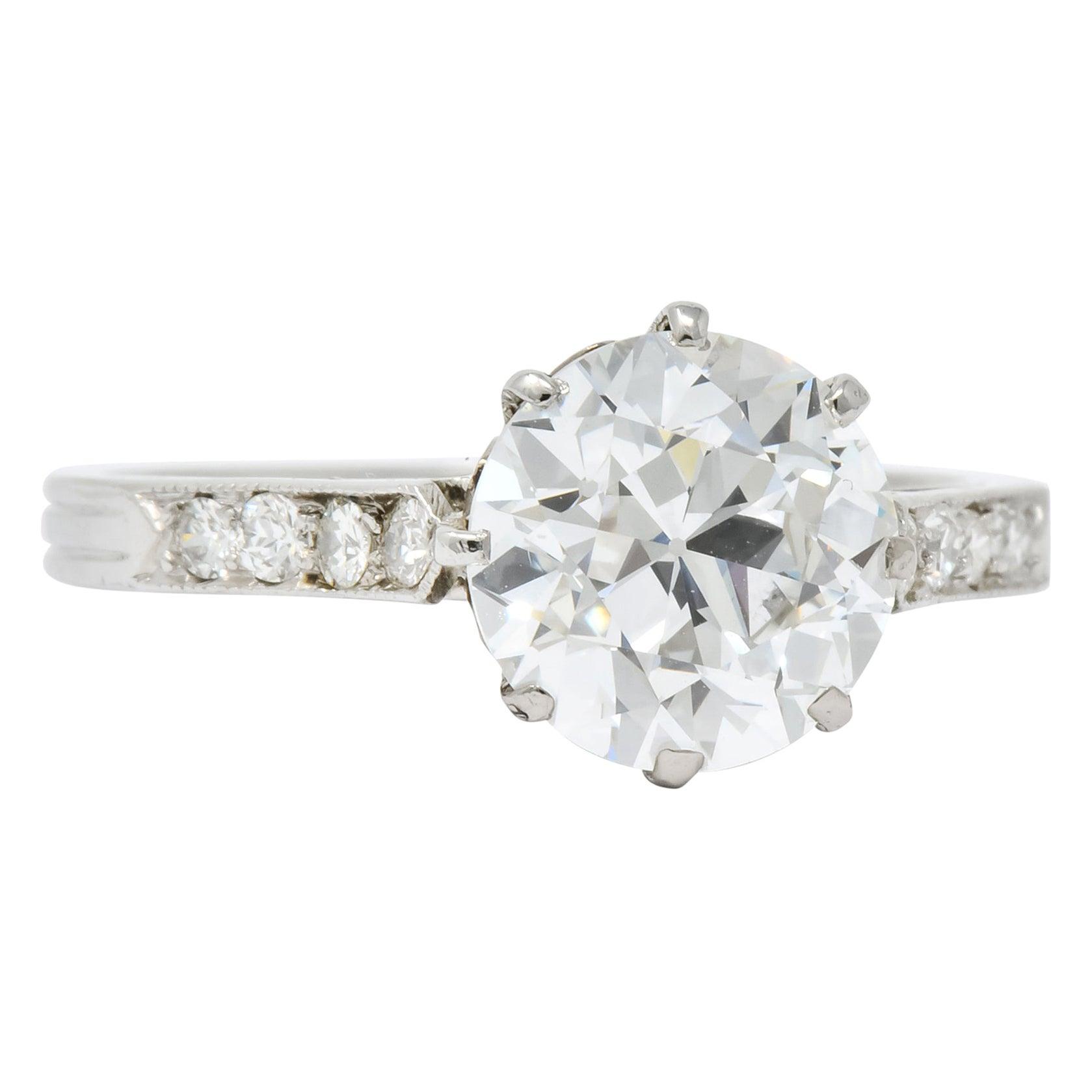 Enticing Edwardian 2.68 Carat Diamond Platinum Engagement Ring GIA