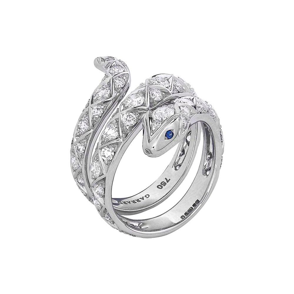 Garrard 'Muse' 18 Karat White Gold White Diamond Blue Sapphire Serpent Ring