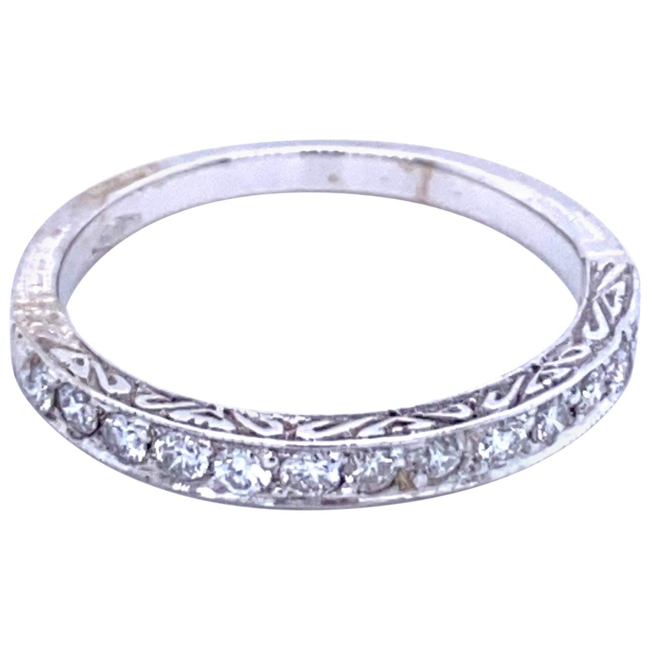 Art Deco Diamond Wedding Gold Engraved Band Ring
