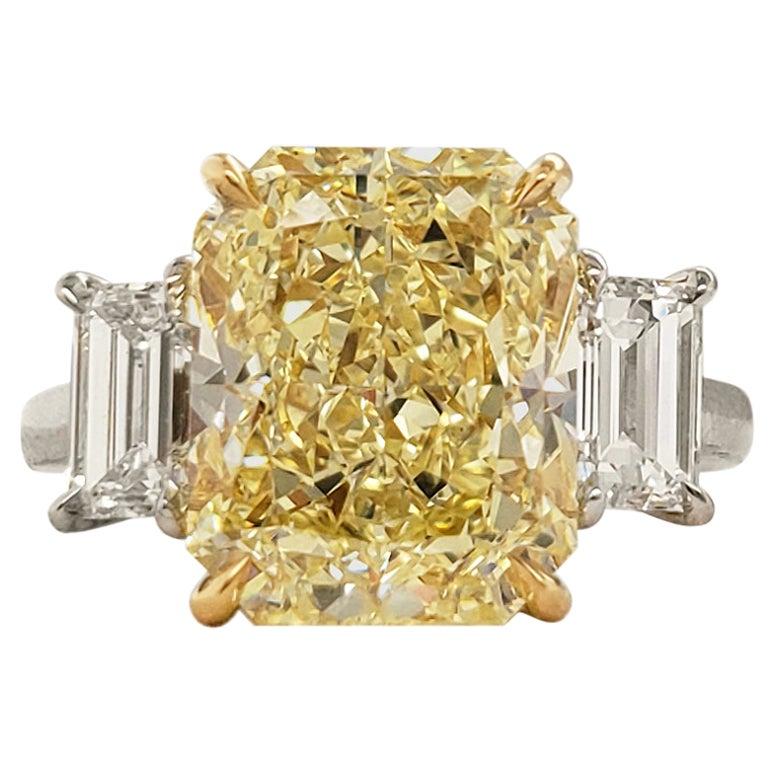 GIA 6 Carat Fancy Yellow Radiant Cut Diamond Engagement Ring in Platinum
