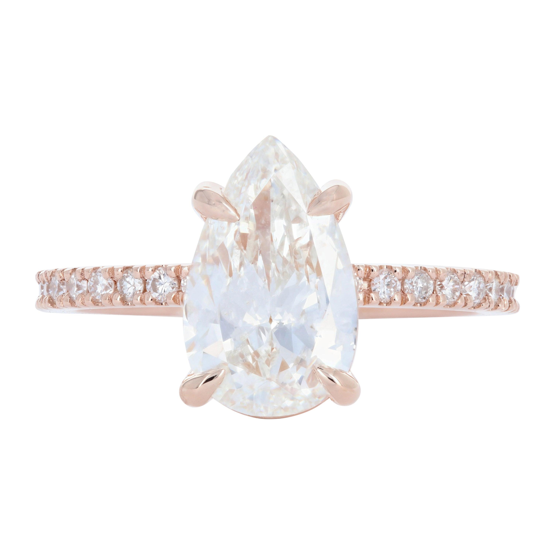 Rose Gold 2.24 Pear Cut Diamond Engagement Ring