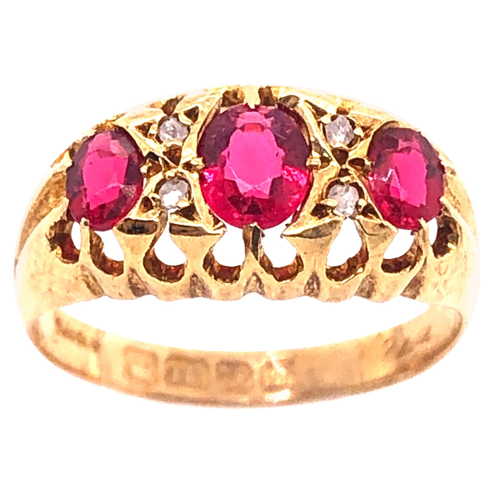 18 Karat Yellow Gold Three-Stone Ruby Ring Band with Diamond Accents