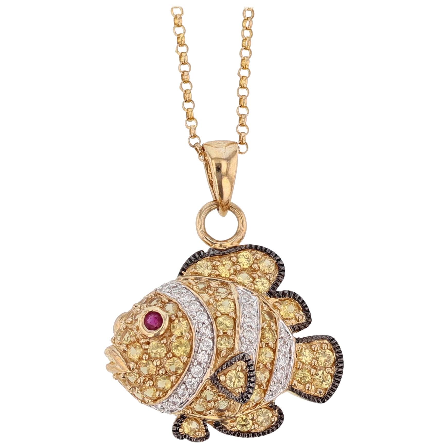 14 Karat Yellow Gold Yellow Sapphire Ruby and Diamond Fish Pendant Necklace