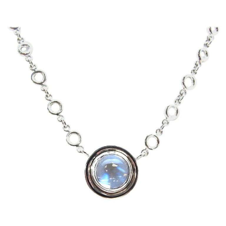3.45 ct. Rainbow Moonstone, Bezel Set 18k White Gold Handmade Pendant Necklace