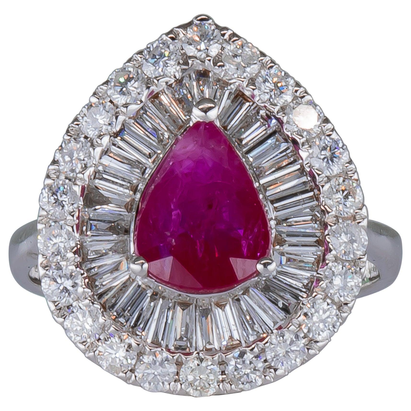 1.50 Carat Ruby Ring with Diamonds 18 Karat Gold