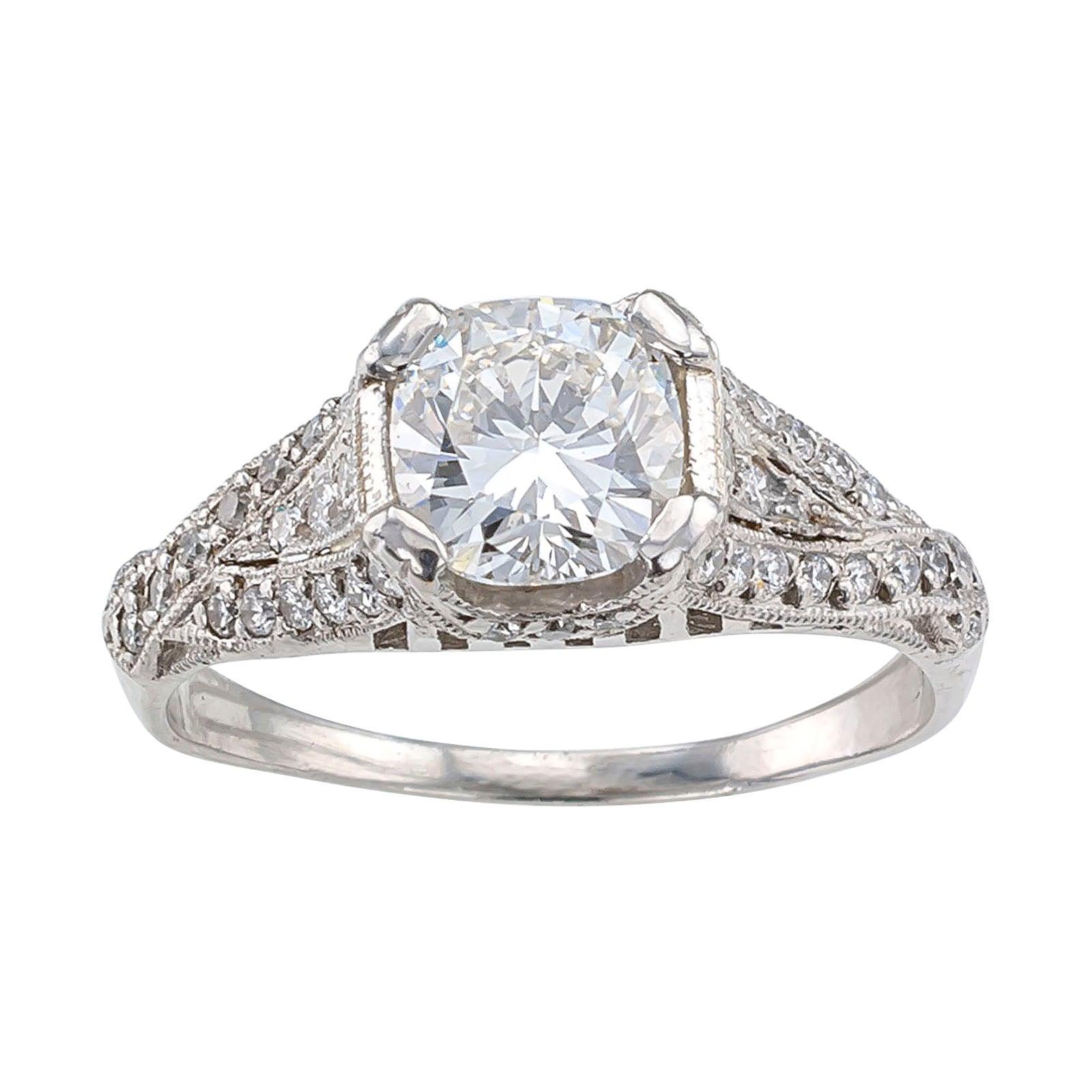 Estate E Color 1.01 Carat Cushion Cut Platinum Solitaire Engagement Ring