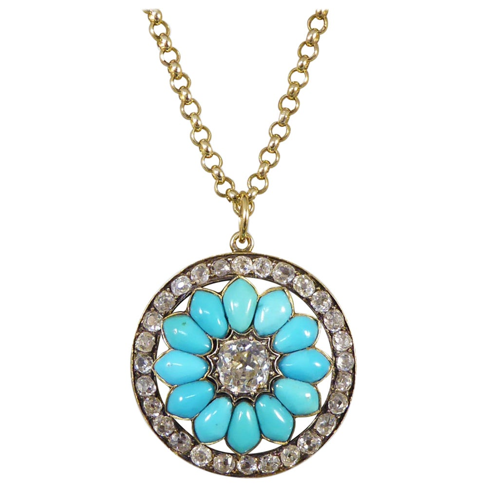 Antique Victorian Diamond and Turquoise Flower Pendant on Yellow Gold Chain