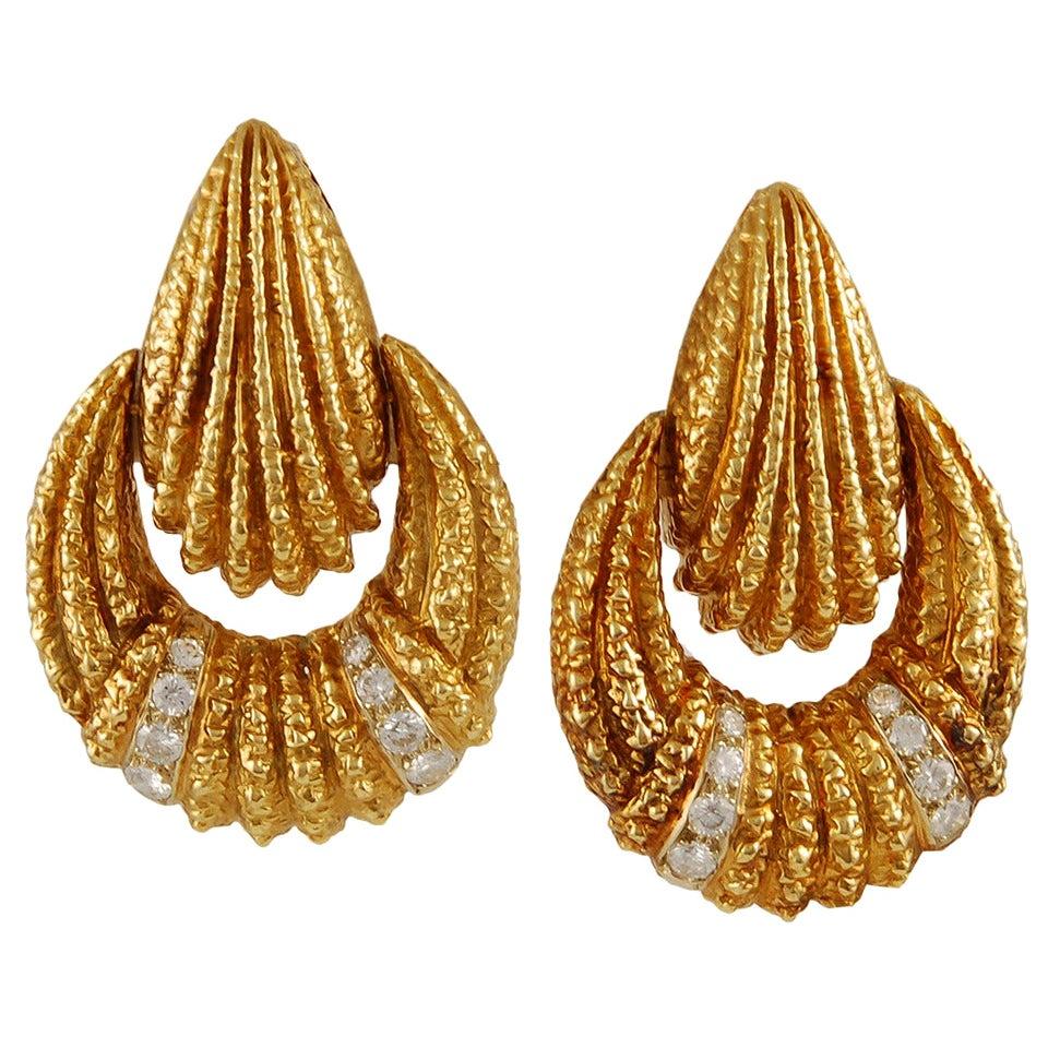 Van Cleef & Arpels Diamond Gold Doorknocker Earclips