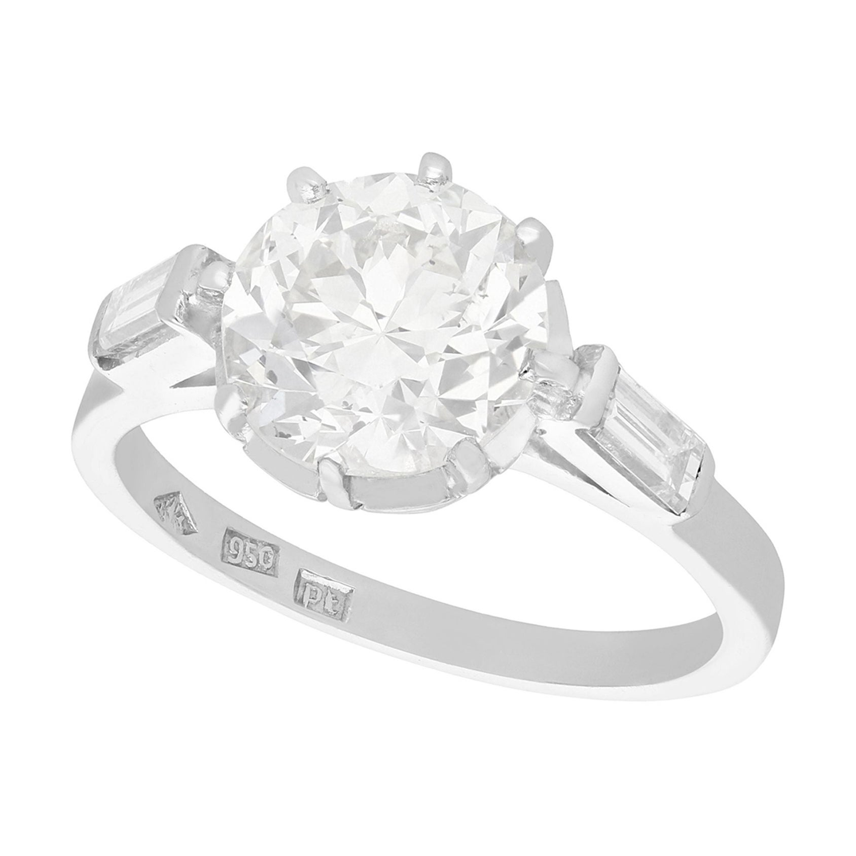 Vintage 1940s 2.78 Carat Diamond and Platinum Solitaire Ring