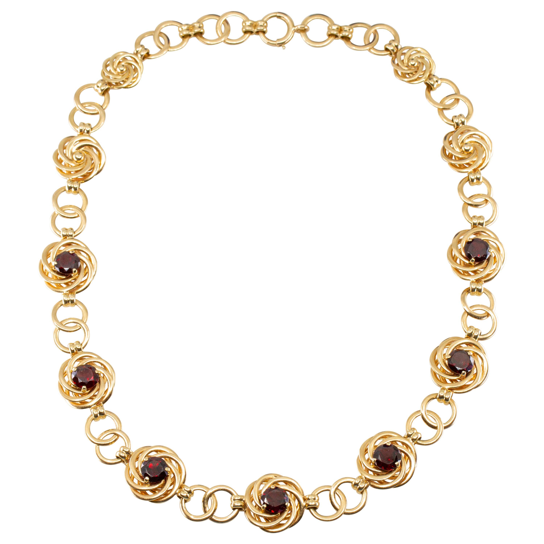 Tiffany and Co. Retro 14 Karat Gold Garnet Necklace