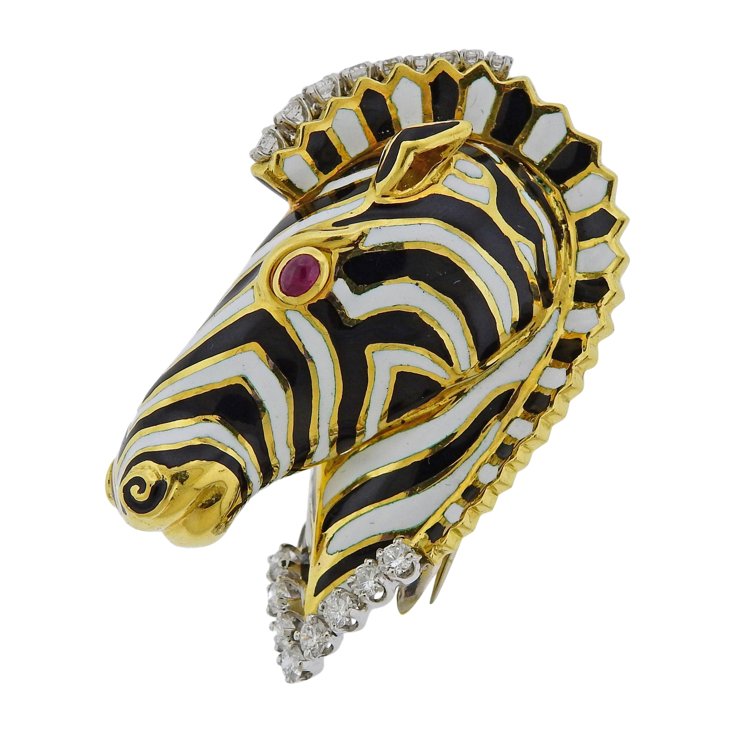 David Webb Ruby Diamond Enamel Gold Zebra Brooch Pin
