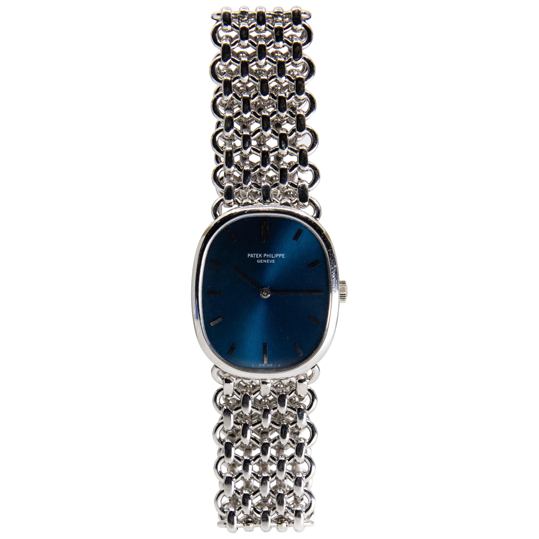 Vintage circa 1972 Patek Philippe Golden Ellipse 18 Karat White Gold Wristwatch