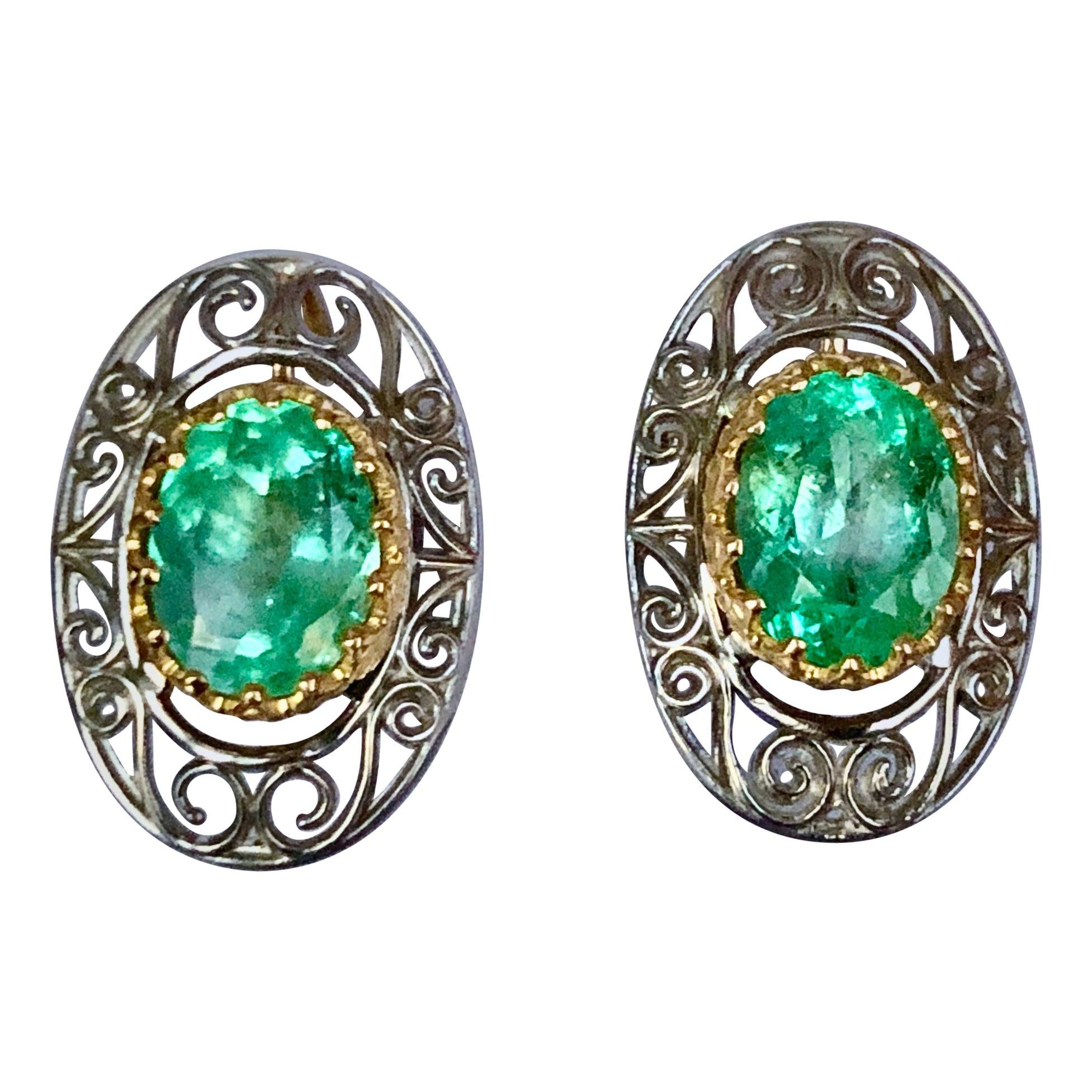 Colombian Natural Emerald Platinum  18 Karat Gold Drop Earrings