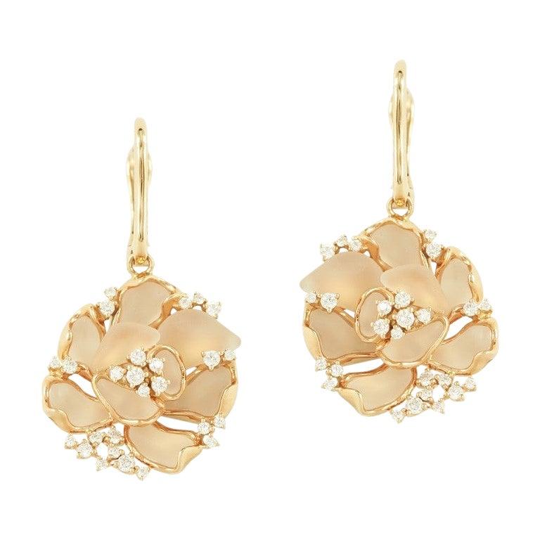 Fine Jewellery Rock Crystal Diamond Yellow Gold 18 Karat Earrings