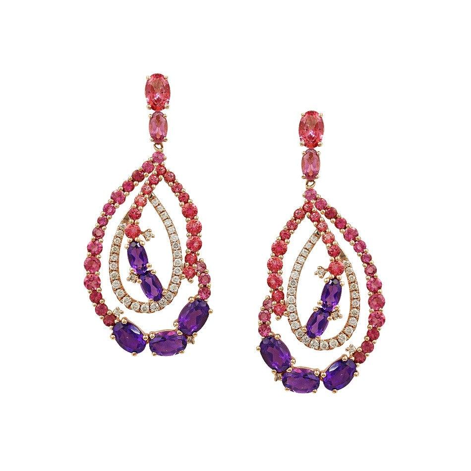 Pink Topaz / Amethyst / Tourmaline Diamond Yellow Gold Drop Earrings