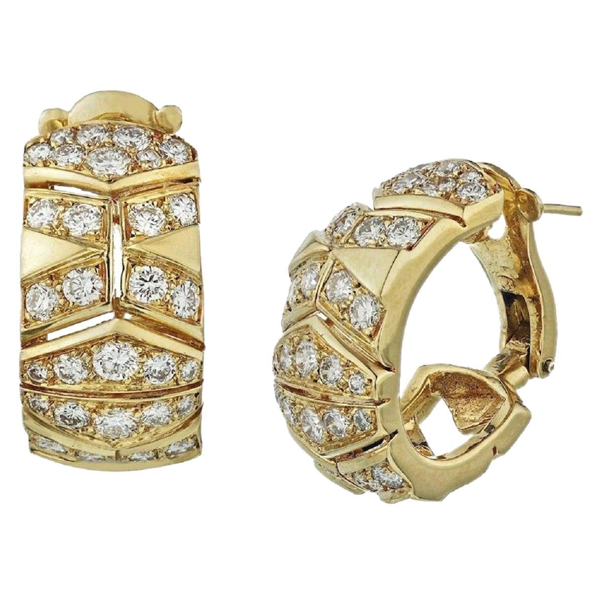 Cartier Yellow Gold Vintage Chevron Diamond Pierced Clip-On Hoop Earrings