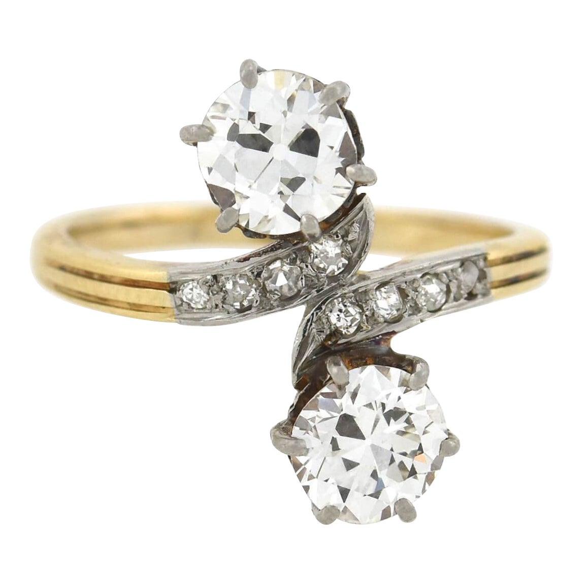 "Edwardian ""Moi et Toi"" 1.60 Total Carat Diamond Bypass Ring"