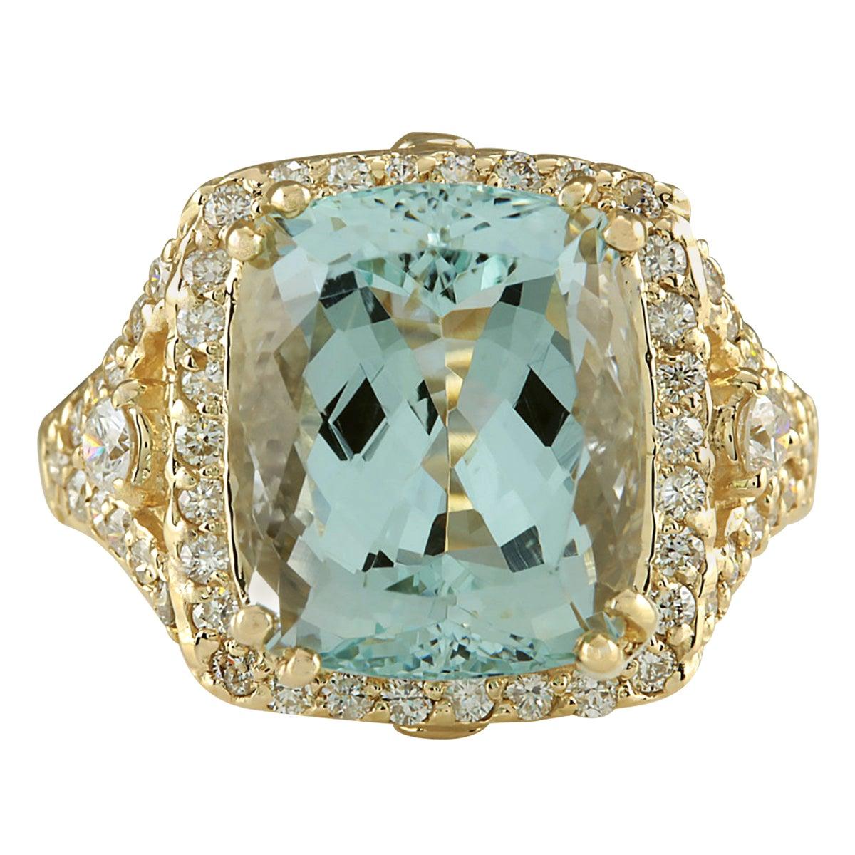 9.03 Carat Natural Aquamarine 18 Karat Yellow Gold Diamond Ring